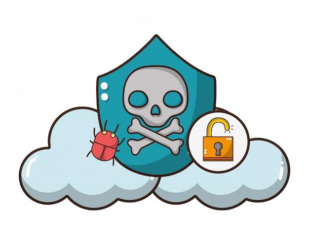 Cybersecurity-bedrohungskarikatur