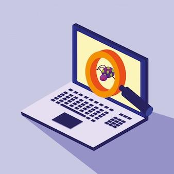 Cybersicherheit mit laptop- und virenbefall
