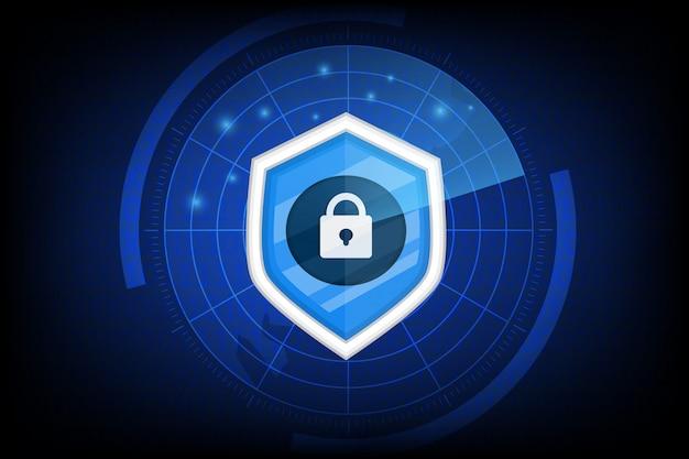 Cybersicherheit mit schlüsselsymbol auf dunkel
