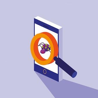 Cybersicherheit mit smartphone und virenbefall