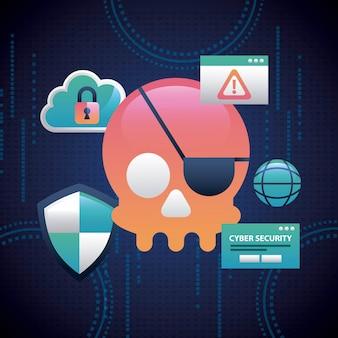 Cybersicherheits-bunte schädelpiraterie-verbrechenalarm-gefahr schloss wolke ein