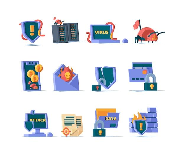 Cybersicherheitssymbol. online-netzwerkschutz datenbank gefahr internet-virus sichere cloud-firewall farbige symbole. schutz und sicherheit online, gefahr kriminelle cyber-illustration