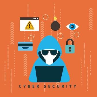 Cybersicherheitstechnologieillustration Kostenlosen Vektoren