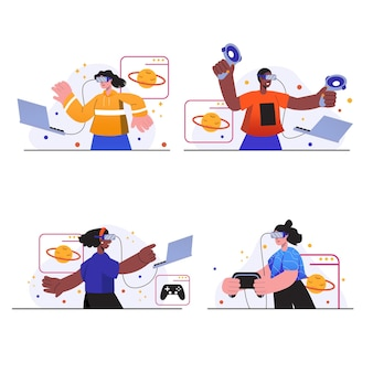 Cyberspace-konzeptszenen setzen menschen mit vr-brille beim spielen oder bildung in der virtuellen realität ein