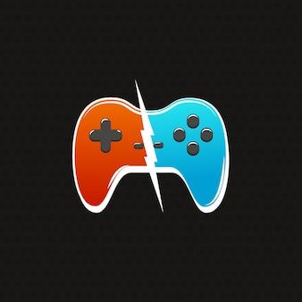 Cybersport gegen kampflogo. zwei gamepads mit blitz lokalisierter ikone