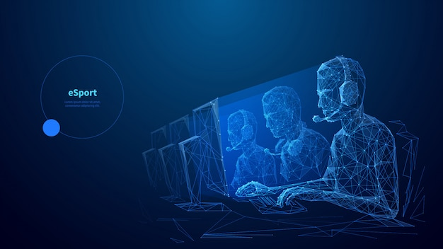 Cybersport low poly wireframe banner vorlage. esports wettbewerb, online-spiel meisterschaft poster polygonales design mit textraum. professionelle spieler team 3d-mesh-kunst mit verbundenen punkten
