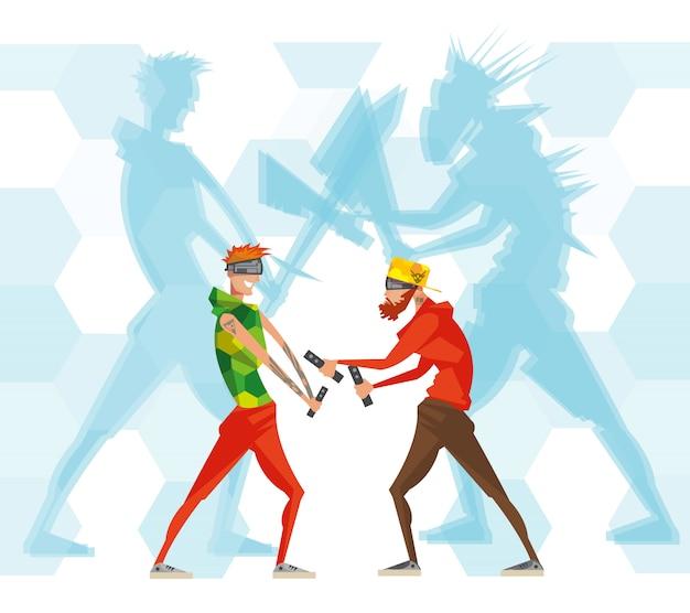Cybersport virtual reality-spieler sehen ein flaches espor-poster mit spielern in masken