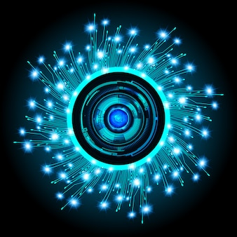 Cyberstromkreis des blauen auges zukünftiger technologiekonzepthintergrund