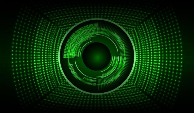 Cyberstromkreis des grünen auges zukünftiger technologiekonzepthintergrund