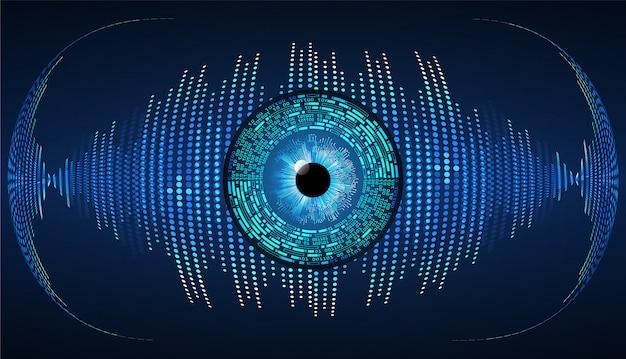 Cyberstromkreis-zukunftstechnologiehintergrund des blauen auges