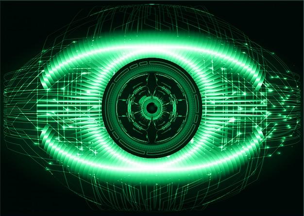 Cyberstromkreis-zukunftstechnologiekonzept des grünen auges