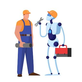 Cyborg-charakter, der mit mann arbeitet. roboter klempner hilfe im service. idee des maschinenberufs.