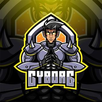 Cyborg esport maskottchen logo design
