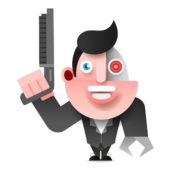 Cyborg in der lederjacke mit schrotflinten-vektor-illustration