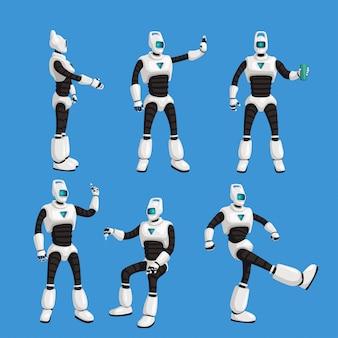 Cyborg in verschiedenen posen auf blau gesetzt