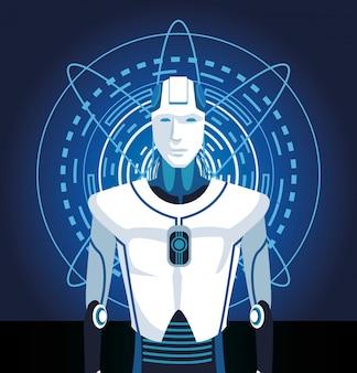 Cyborg-maschinenroboter der künstlichen intelligenz