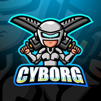 Cyborg maskottchen esport illustration