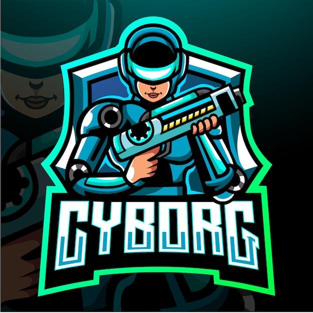 Cyborg-maskottchen. esport-logo