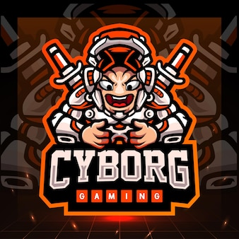 Cyborg-spielemaskottchen. esport logo design