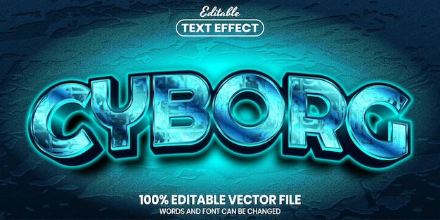 Cyborg-text, bearbeitbarer texteffekt im schriftstil