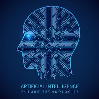 Cyborgkopf mit leiterplatte nach innen. künstliche intelligenz des digitalen menschlichen vektorkonzeptes