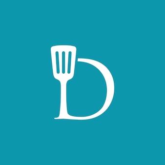 D brief spachtel küche restaurant koch logo vektor icon illustration