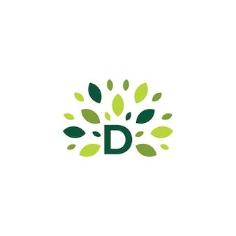 D buchstabe baum blatt natur markieren grünes logo vektor icon illustration