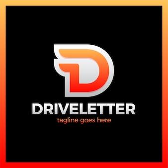 D buchstabe logo mit einem zwei flügel. dynamisches laufwerkbuchstabe-logo