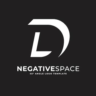 D buchstabe negativer raum geometrische alphabet zeichen logo vektor icon illustration