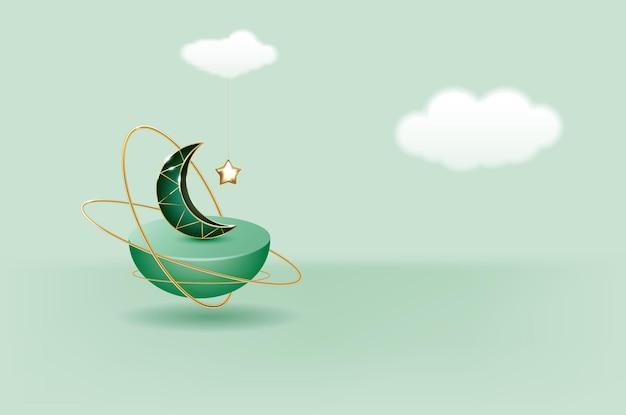 D illustration des klassischen aquamarinen islamischen festivalthemas produktanzeigehintergrundes mit