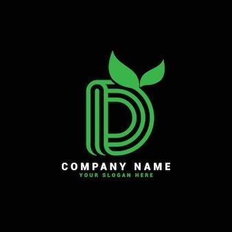 D natürliches letter-logo, d-brief-logo mit blättern, öko, botanisch