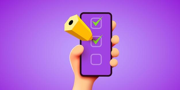 D süße hand hält smartphone mit checkliste oder wunschliste und bleistiftplanungskonzept