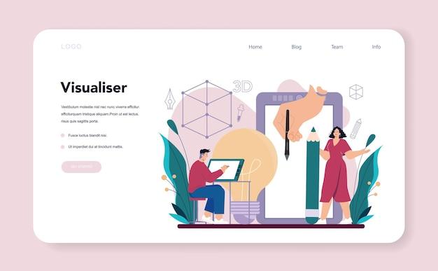 D visualizer-webbanner oder digitale landingpage-zeichnung