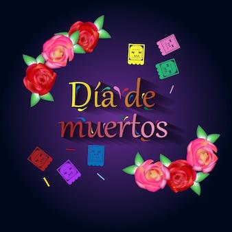 Da de los muertos mexikanischer feiertag tag der toten vektorillustration mexikanischer festlicher