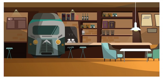 Dachbodencafé mit einzigartiger designillustration