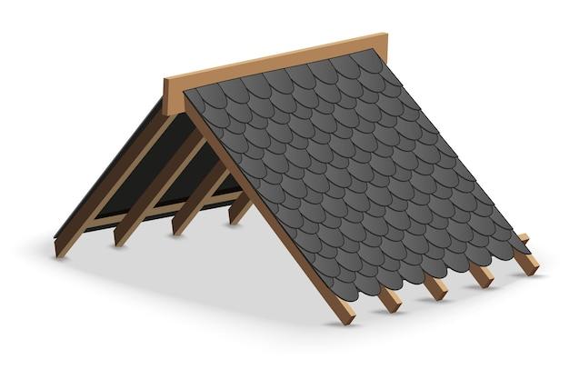 Dachdecker der schwarzen schindeln auf dach.