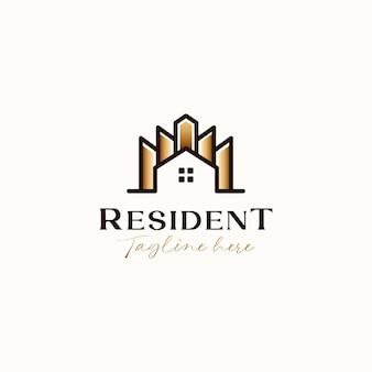 Dachhaus mit gebäude gold gradient gradient monoline logo vorlage in weißem hintergrund isoliert