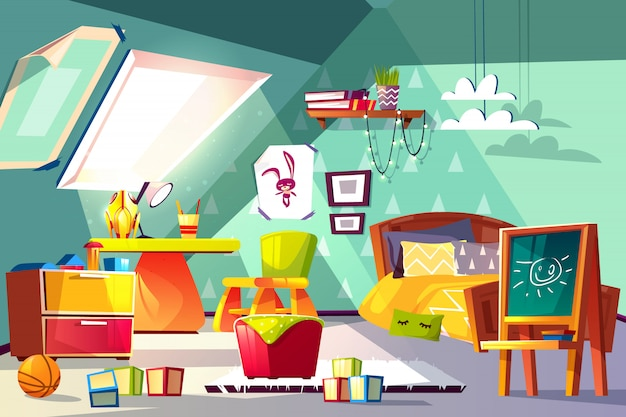 Dachkammerkinderrauminnenkarikaturillustration. gemütliches schlafzimmer des kleinkind- oder vorschülerjungen