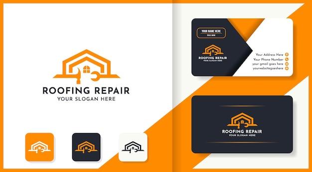 Dachreparatur-logo-design verwendet hammer- und schraubenschlüsselkonzept und visitenkarte