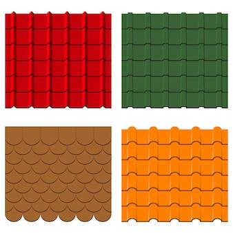 Dachziegel-set sammlung von schindeln und profilen nahtlose konstruktionsmuster