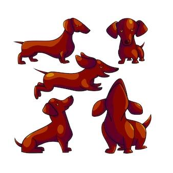Dackel cartoon farbe zeichen festgelegt
