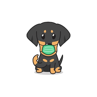 Dackelhund der karikaturfigur, die schützende gesichtsmaske mit sprechblase trägt