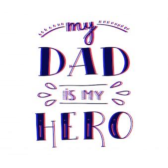 Dad superheld doodle zitat im handschriftlichen stil. liebes-vati, der phrase in der farbe 3d beschriftet.