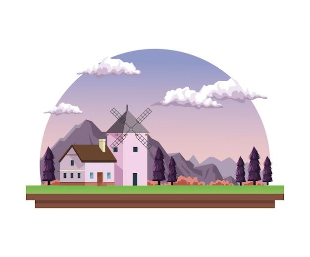 Dämmerungslandschaft im halb runden rahmen mit feldbergen und -haus mit windmühle