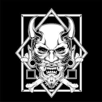 Dämon mit hornhandzeichnung