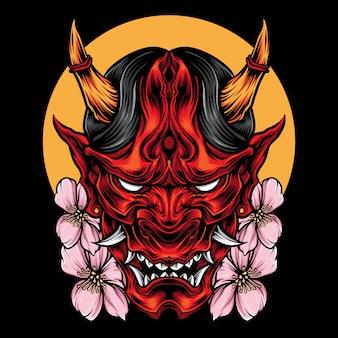 Dämon oni maske mit kirschblüte-vektor