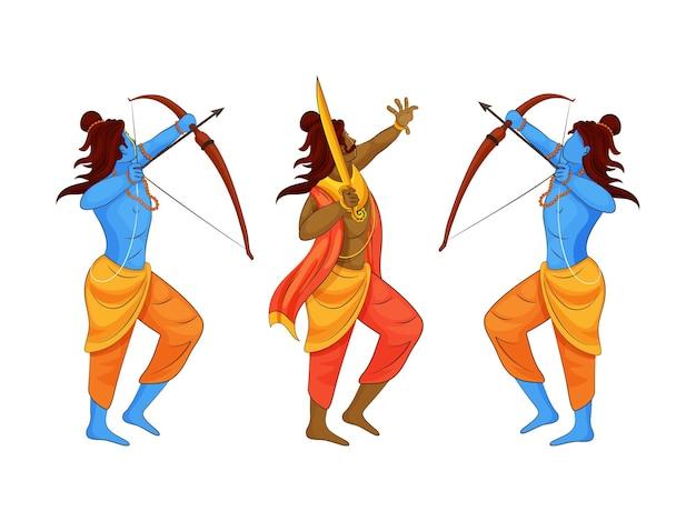 Dämon ravana king und lord rama in zwei pose auf weißem hintergrund.