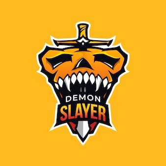 Dämonenjäger-maskottchen-logo