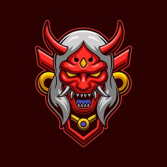 Dämonenkopf mit maskenkonzept