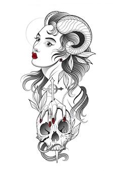 Dämonenmädchen mit einem menschlichen schädel in der hand